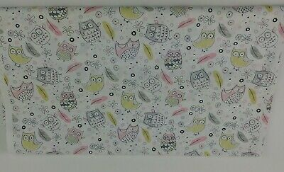 Pastel Owls Fabric Grey Pink Yellow 2 2/3 Yards Timeless Treasures Nursery P1
