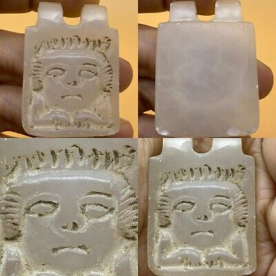 Near Eastern Ancient Queen Face engraved  Crystal Stone Rare Amulet