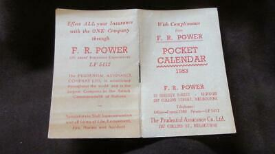 1953 Pocket Calendar with Compliments from F.R Power The Prudential Assurance Co