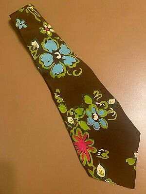 """Vtg 40s 1940s VIVID Dayglo Atomic Floral Rayon Swing Tie Wide VLV 49"""" 4.25"""""""