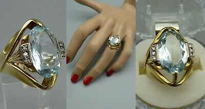 GHVV exclusiver Ring TOP Aquamarin 6,5 ct 6x Diamant besetzt 585 Gold Zertifikat