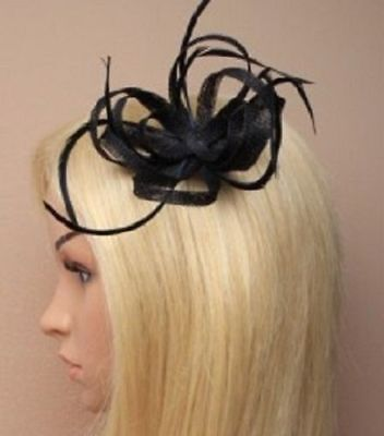 Black Coiled Hessian & Feather Fascinator Hair Clip Corsage Pin - Wedding Races