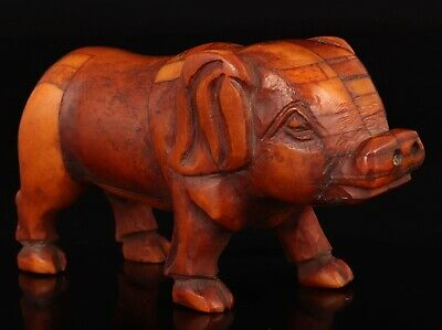 Chinese Cattle B0Ne Statue Hand-Carved Pig Mascot Decorative Gift