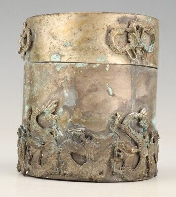 Retro Chinese Tibet Silver Toothpick Box Old Embossed Dragon Seal Collec Gift
