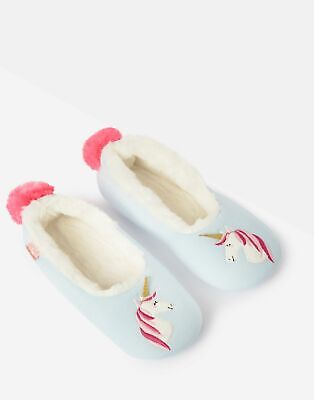 Joules Girls Dreama Character Slippers - BLUE UNICORN