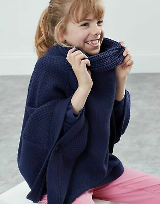 Joules Girls Tess Knitted Poncho - MID NAVY