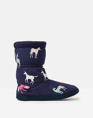 Joules Girls Padabout Slipper Socks - NAVY UNICORNS Size S