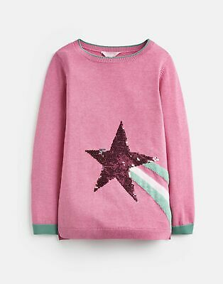 Joules Girls Miranda Intarsia Jumper  - BLOSSOM PINK SHOOTING STAR