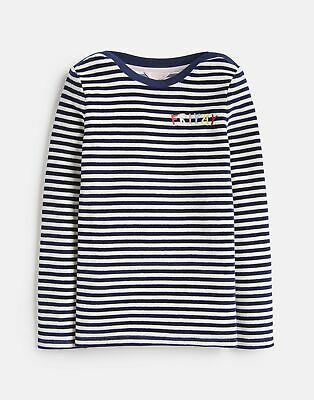 Joules Girls Masie Velour Top  - FRENCH NAVY STRIPE