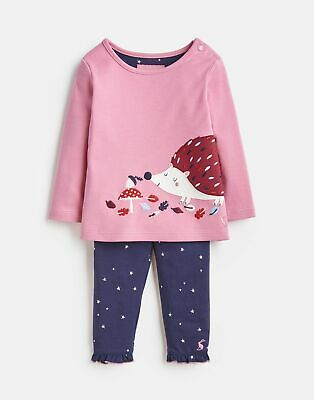 Joules Baby Girls Poppy Applique Top And Trousers Set - PINK HEDGEHOG