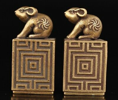 Chinese Old Bronze Hand-Cast Rabbit Statue Seal Auspicious Gift Collec