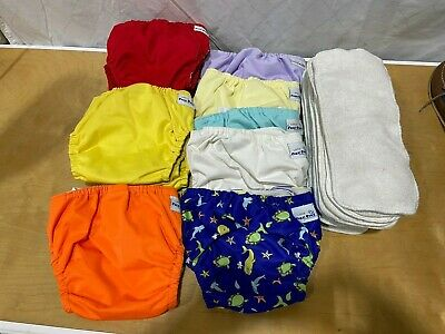 Fuzzibunz 13 Large Cloth Diapers Adjustable Pocket Diaper W/ 15 Inserts GUC