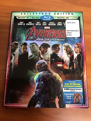 Avengers: Age of Ultron w/ Slipcover (3D/Blu-ray Disc, 2015, Includes Digital...