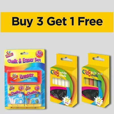 Coloured & White 12 Pack Non Toxic Chalks School Art Learning Kids Playground