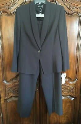 KASPER Women Grey 2 Piece Lined Dress Business Suit Jacket Pants 14 NWT Ret $300