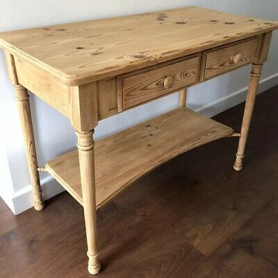 Vintage, Pine, Washstand With Twin Front Drawers & Lower Curved Shelf