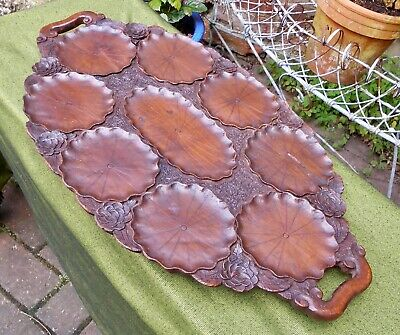 Vintage Large Oval Wooden Lily Pad And Flower Carved Serving Tray With Handles