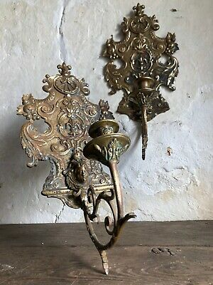 Pair Louis XV Antique French Chateau Gilt Bronze Candle Wall Sconces Rocaille