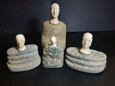 Very old Bactrian composite chloride stone statue four rare statues lot.4 statue
