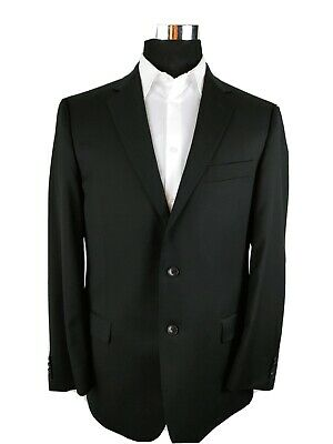 Joseph Abboud Solid Black Wool 2-Button Blazer Suit Jacket Mens 42R