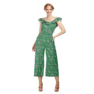 Collectif Jumpsuit 14 New With Tag Green Floral Cropped Culottes Wedding Holiday