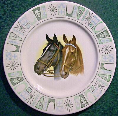 """Vintage """"Cathay"""" Horse Decal Plate Taylor, Smith & Taylor Ca. 1964 10.5""""D"""