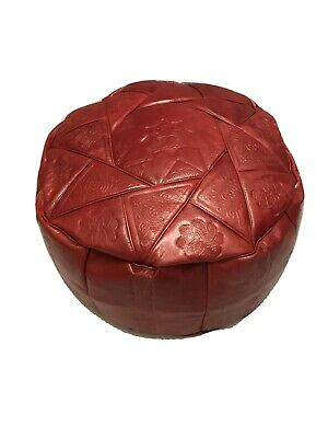 Round Leather Pouffe Footstool Moroccan Style Red LIMITED STOCK!!!