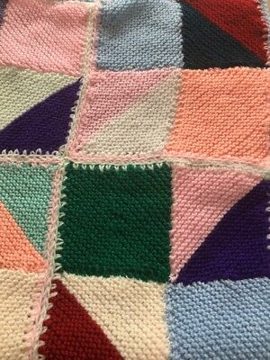 HAND KNITTED BABY BLANKET MULTICOLORED PATCHWORK SQUARES - Stunning