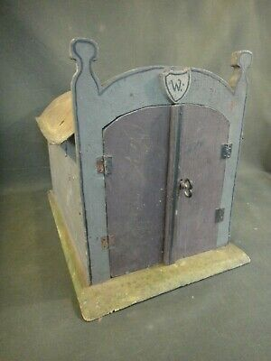 Antique Painted Wood & Metal House - Folk Art Vintage Hand Made Garage
