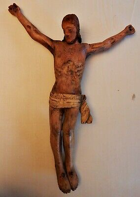 "Wooden Hand Carved Jesus Christ Figure Crucifix 28"" x 21"" Folk Art Old Antique"