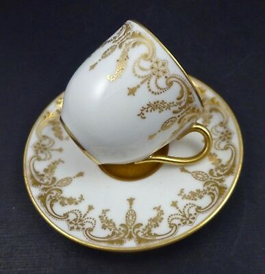 Antique Royal Doulton Demitasse Cup & Saucer  Raised Gold