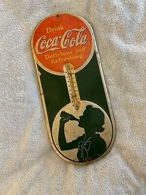 Vintage 1939 Coca Cola Silhouette Thermometer Advertising Sign