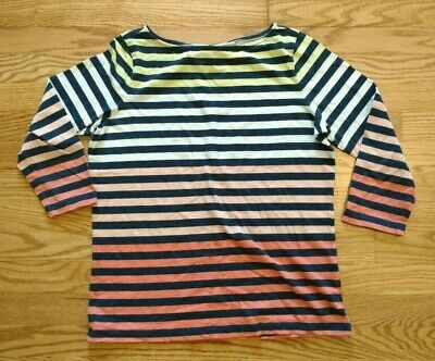 Lands End Women's Boat Neck Striped 3/4 Sleeve Tee Size Small 6-8