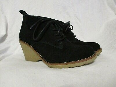 Sonoma Women's Nadine Wedge Heel Ankle Boots Booties Suede Black Size 7M-GUC