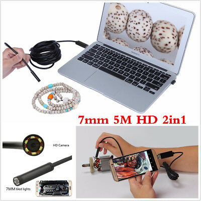 2IN1 7mm 5M Android Phone Endoscope IP67 Waterproof USB Borescope HD LED Camera