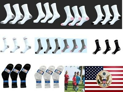 12 Pairs Size 6-8 Lot Children Kids Youth Crew Cushion Sports Socks Boys & Girls