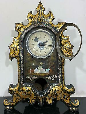 Antique Victorian Rare Cast Metal Shelf Mantle Clock Abalone Shell Inlaid Detail