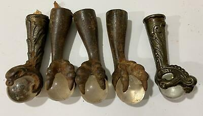 Vtg Estate Lot Architectural Salvage Glass Claw Table Furniture Legs Hardware