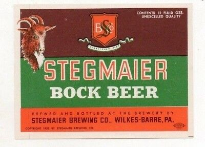 12oz STEGMAIER BOCK BEER BOTTLE LABEL by STEGMAIER BREWING CO WILKES-BARRE PA