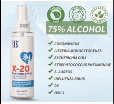 8+ Minute X-20 Sanitising Spray 120ml with 75% alcohol