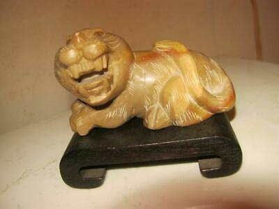 Vintage   Soapstone   Foo Dog   Lion   On Wooden Stand Made In Japan