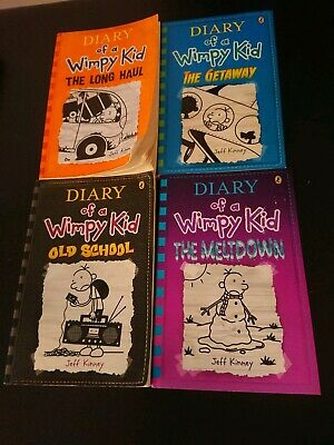 x 4 Diary of a Wimpy Kid Books-The Meltdown, Old School, The Getaway, Long Haul