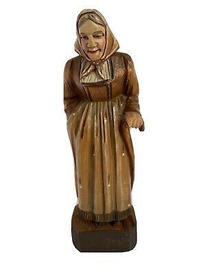 Wood Carving of an Old Woman with a Cane Wearing a Long Dress, Scarf  Made ITALY