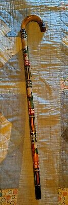 """35"""" 1960s vtg Mexican Hand Carved Wood Walking Stick Cane"""