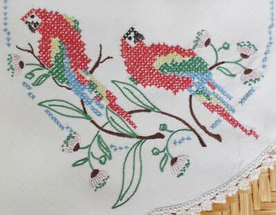 Embroidered Centrepiece Doily AUSTRALIAN ROSELLAS, GUM LEAVES & BLOSSOMS