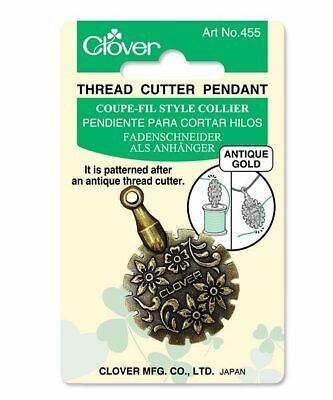 🍀 Clover Thread Cutter Pendant Antique Gold Quilting Sewing Embroidery