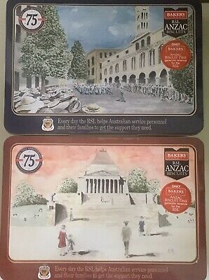 2020 ANZAC BISCUIT TINS x 2  WWII 75th ANNVERSARY RSL VP Day SYDNEY MELBOURNE