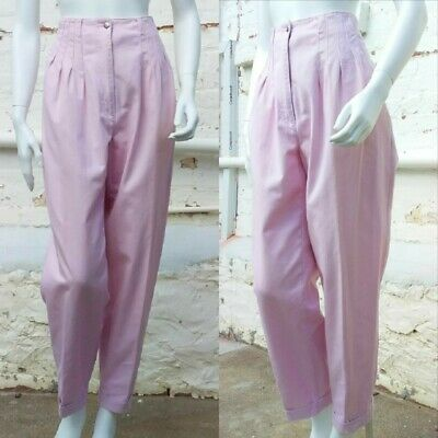 Pastel Pink 90s Vintage High Waisted Pants Cotton Mom Jeans 12 14 VGC