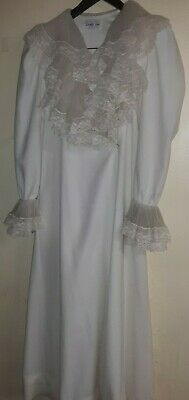 Vtg Vanity Fair Women's Ivory Long Tie Robe Lace Collar &Cuff Sz Small
