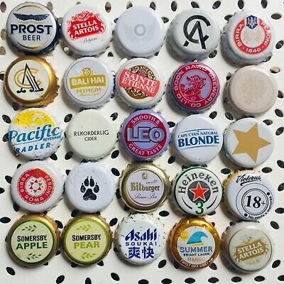 25 x WHITE Mixed Crown Seal Bottle Tops Caps